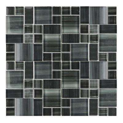 Handicraft Magic Lagoon Gray Versailles Mosaic 12 in. x 12 in. Glass Wall and Pool Tile (1.05 Sq. ft.)