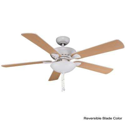 Connor 52 in. Integrated LED Matte White Ceiling Fan with Light Kit and Remote Control