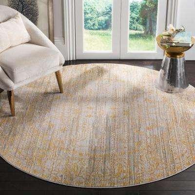 Valencia Gray/Gold 7 ft. x 7 ft. Round Area Rug