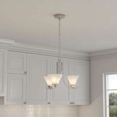 Nove 3-Light Brushed Nickel Chandelier with White Glass Shades
