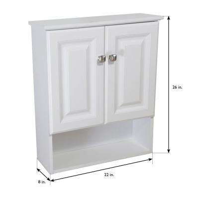 Wyndham 22 in. W x 26 in. H x 8 in. D Bathroom Storage Wall Cabinet with Shelf in White Semi-Gloss