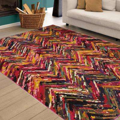 Jubilee Chevron Fun Multi 4 ft. x 5 ft. Artistic Plush Indoor Area Rug