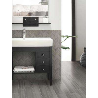 Water Color Graphite Bullnose 3.5 in. x 24 in. Matte Porcelain Wall Tile (24 lin. ft./case)