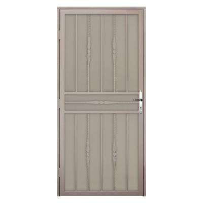 36 in. x 80 in. Cottage Rose Tan Recessed Mount Steel Security Door with Perforated Metal Screen and Nickel Hardware