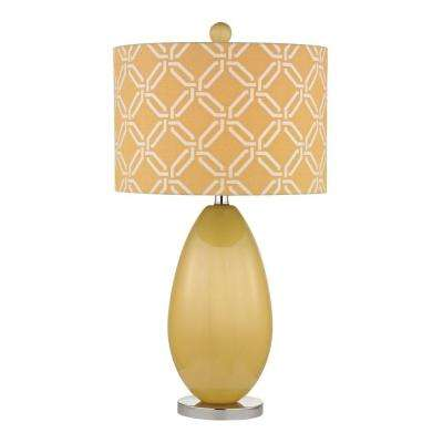Sevenoakes 25 in. Sunshine Yellow and Polished Nickel Table Lamp