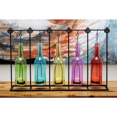 15 in. 5-Bottle Votive Candle Holders in Multi Color