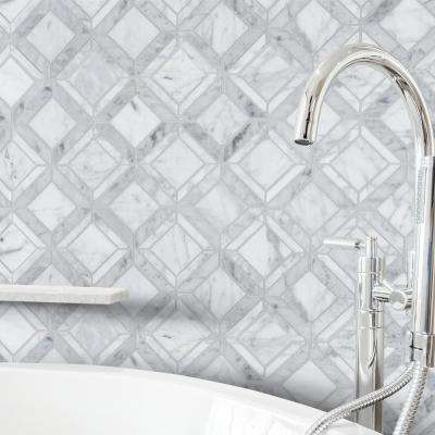 Carlyle Carrara White 11-1/8 in. x 11-1/8 in. x 8 mm Geometric Marble Wall and Floor Mosaic Tile