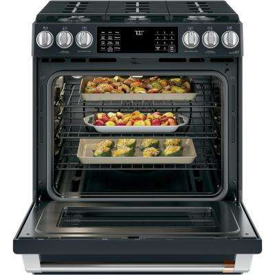 30 in. 5.6 cu. ft. Gas Range with Self-Clean Oven in Matte Black, Fingerprint Resistant