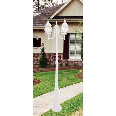 3-Light Outdoor White Incandescent Post Lantern
