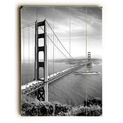 "18 in. x 24 in. ""1937 San Francisco Golden Gate Bridge"" by Underwood Photo Archive ""Planked Wood"" Wall Art"