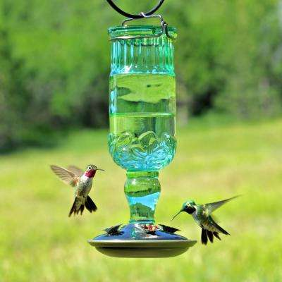 Green Antique Bottle Decorative Glass Hummingbird Feeder - 24 oz. Capacity