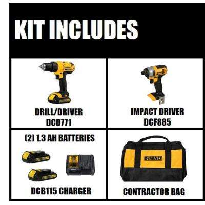 20-Volt MAX Lithium-Ion Cordless Drill/Driver and Impact Combo Kit (2-Tool) with (2) Batteries 1.3Ah, Charger and Bag