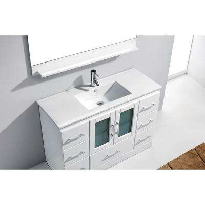 Zola 48 in. W Bath Vanity in White with Ceramic Vanity Top in Slim White Ceramic with Square Basin and Mirror and Faucet