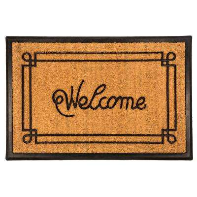 Welcome with Border 18 in. x 30 in. Recycled Rubber and Coir Door Mat