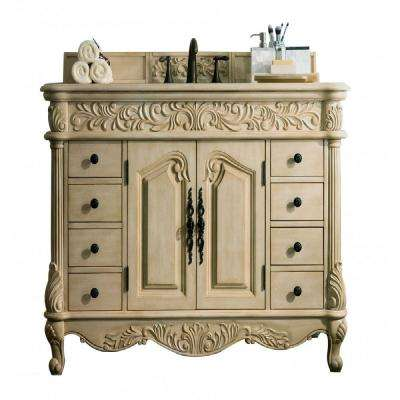 Monte Carlo 48 in. W Single Vanity in Parchment with Galala Beige Marble Vanity Top with White Basin