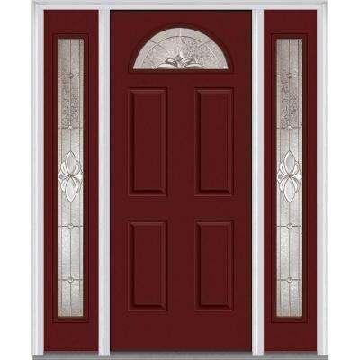 Red 4 Panel Wood Exterior Doors Doors Windows The Home Depot