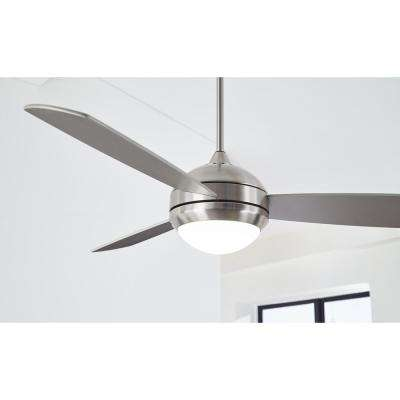 Discus Trio Max 58 in. Brushed Steel Ceiling Fan with LED Light Kit Works with Google Assistant and Alexa