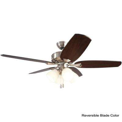 Channing 52 in. Indoor LED Brushed Nickel Ceiling Fan with Light