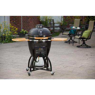 Hybrid Kamado Charcoal/Gas Grill in Black with Grill Cover