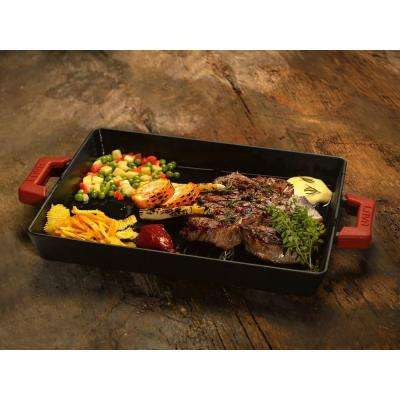 ECO 10-1/4 in. x 15-1/2 in. Enameled Cast Iron Combination Grill and Griddle Pan in Slate Black