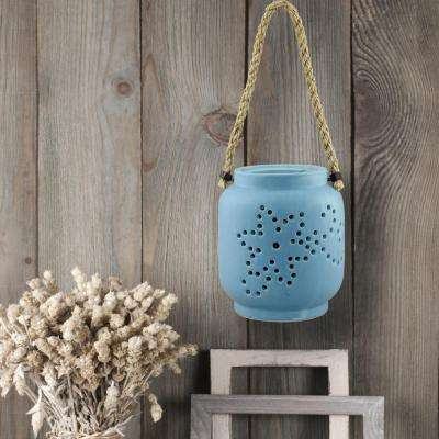 Pale Ocean Blue Candle Operated Hanging Lantern