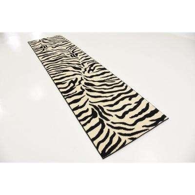 Wildlife Zebra Ivory 2' 7 x 10' 0 Runner Rug