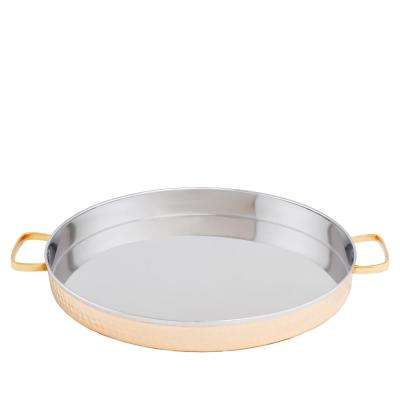 12 in. 2 PLY Solid Copper / Stainless Steel Hammered Round Tray with Brass Handles