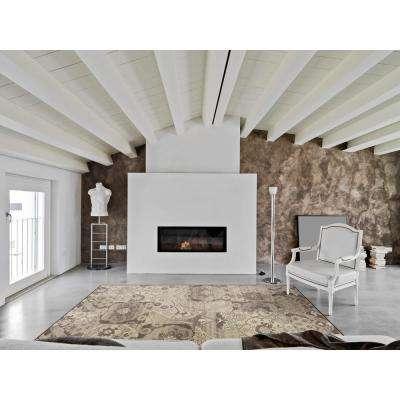 Elegant Damask Grey/Ivory 7 ft. x 10 ft. Area Rug
