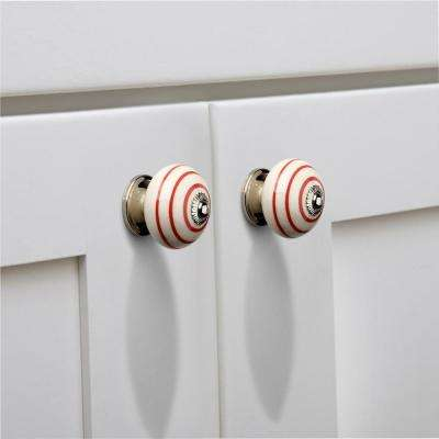Ringed 1-3/5 in. (41 mm) Red and Cream Cabinet Knob