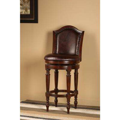 Barcelona 30 in. Brown Cherry Swivel Cushioned Bar Stool