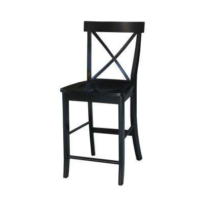 "24"" High X Back Counter Stool in Black"