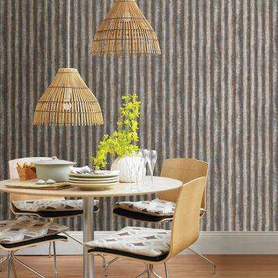 Charcoal Corrugated Metal Industrial Texture Wallpaper Sample
