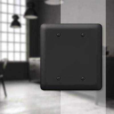 Declan 2 Gang Blank Steel Wall Plate - Black