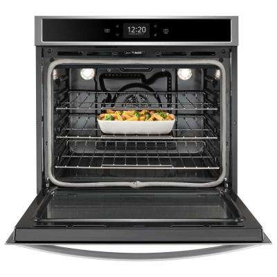 30 in. Smart Single Electric Wall Oven with True Convection Cooking in Black on Stainless Steel