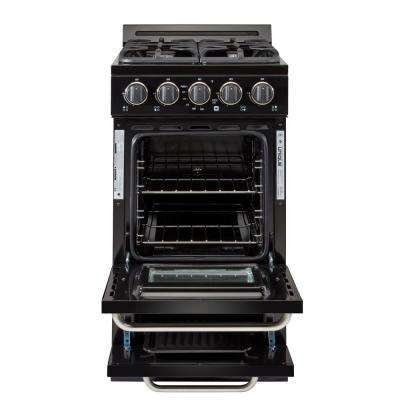 20 in 2.4 cu. ft. Propane Gas Off-Grid Range with Battery Ignition Sealed Burners in Black