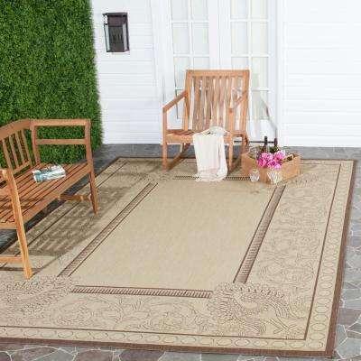 Courtyard Natural/Chocolate 9 ft. x 12 ft. Indoor/Outdoor Area Rug