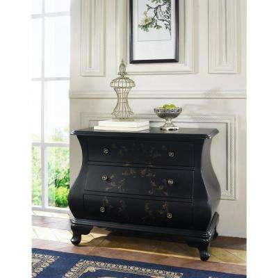 Hand-Painted 3-Drawer Wood Cabinet in Black
