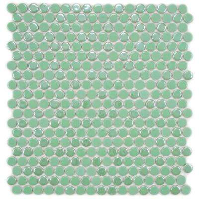 Cosmo Penny Round Capri 11-1/4 in. x 12 in. x 4 mm Porcelain Mosaic Tile