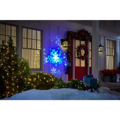 White/Blue Christmas LightShow Projection Whirl-A-Motion Plus Static with 6 Slides