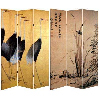 Oriental Furniture 6 ft. x 4 ft. 3-Panel Double Sided Cranes Canvas Room Divider