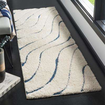 Florida Shag Cream/Blue 2 ft. 3 in. x 7 ft. Runner