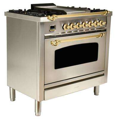36 in. 3.55 cu. ft. Single Oven Italian Gas Range with True Convection, 5 Burners, Griddle, Brass Trim/Stainless Steel
