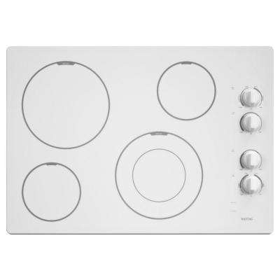 30 in. Ceramic Glass Electric Cooktop in White with 4 Elements including Dual Choice and Speed Heat Elements