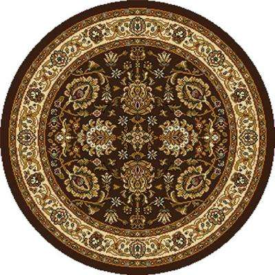Royalty Brown/Ivory 5 ft. 2 in. x 5 ft. 2 in. Round Indoor Area Rug