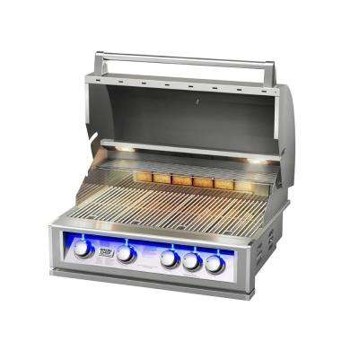 4-Burner Built-In Natural Gas BBQ Grill in Stainless Steel with Rear Rotisserie Burner