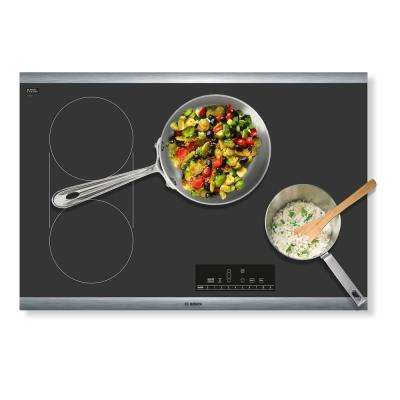800 Series 30 in. Radiant Electric Cooktop in Black with Stainless Steel Frame with 4 Elements