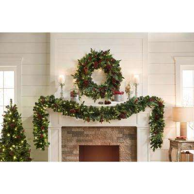 12 ft. Woodmoore Battery Operated Pre-Lit LED Artificial Christmas Garland