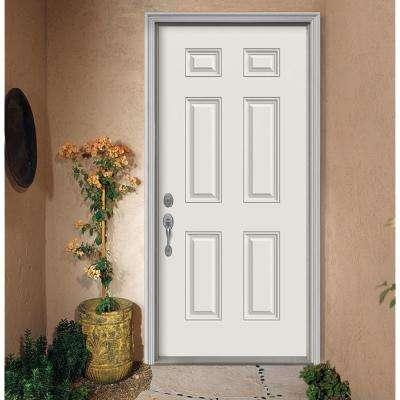 36 in. x 80 in. 6-Panel Primed Fiberglass Prehung Right-Hand Inswing Front Door w/ Brickmould