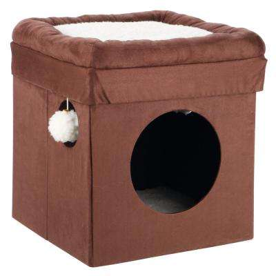 Brown and Beige Miguel Fold-and-Store Collapsible Cat Condo