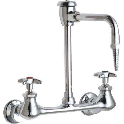 Wall Mount 2-Handle Mid Arc Laboratory Faucet in Chrome with Vacuum Breaker